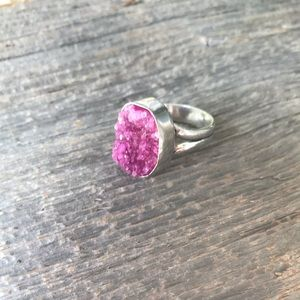 Sterling silver plated pink druzy cocktail ring